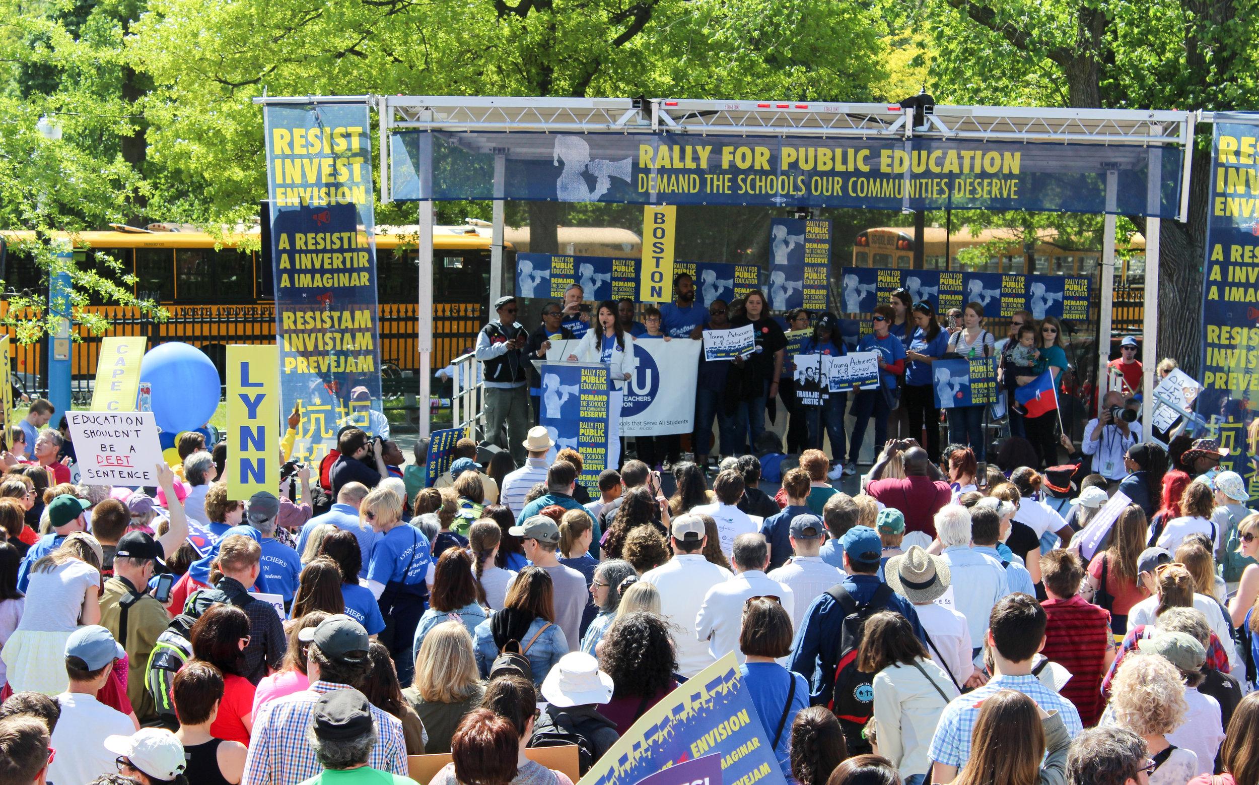 Jessica Tang, president-elect of the Boston Teachers Union, speaks to the crowd. (Zac Bears/PHENOM)