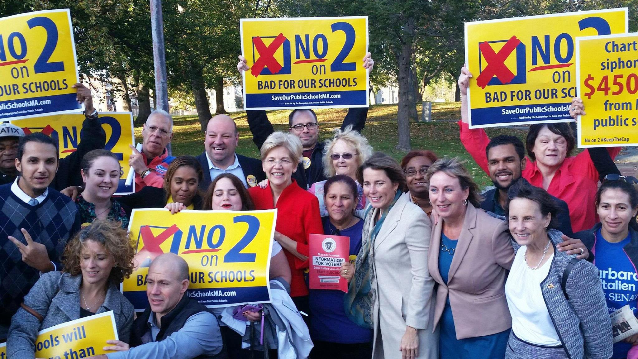 No on 2 organizers with Senator Elizabeth Warren and Attorney General Maura Healey in 2016.