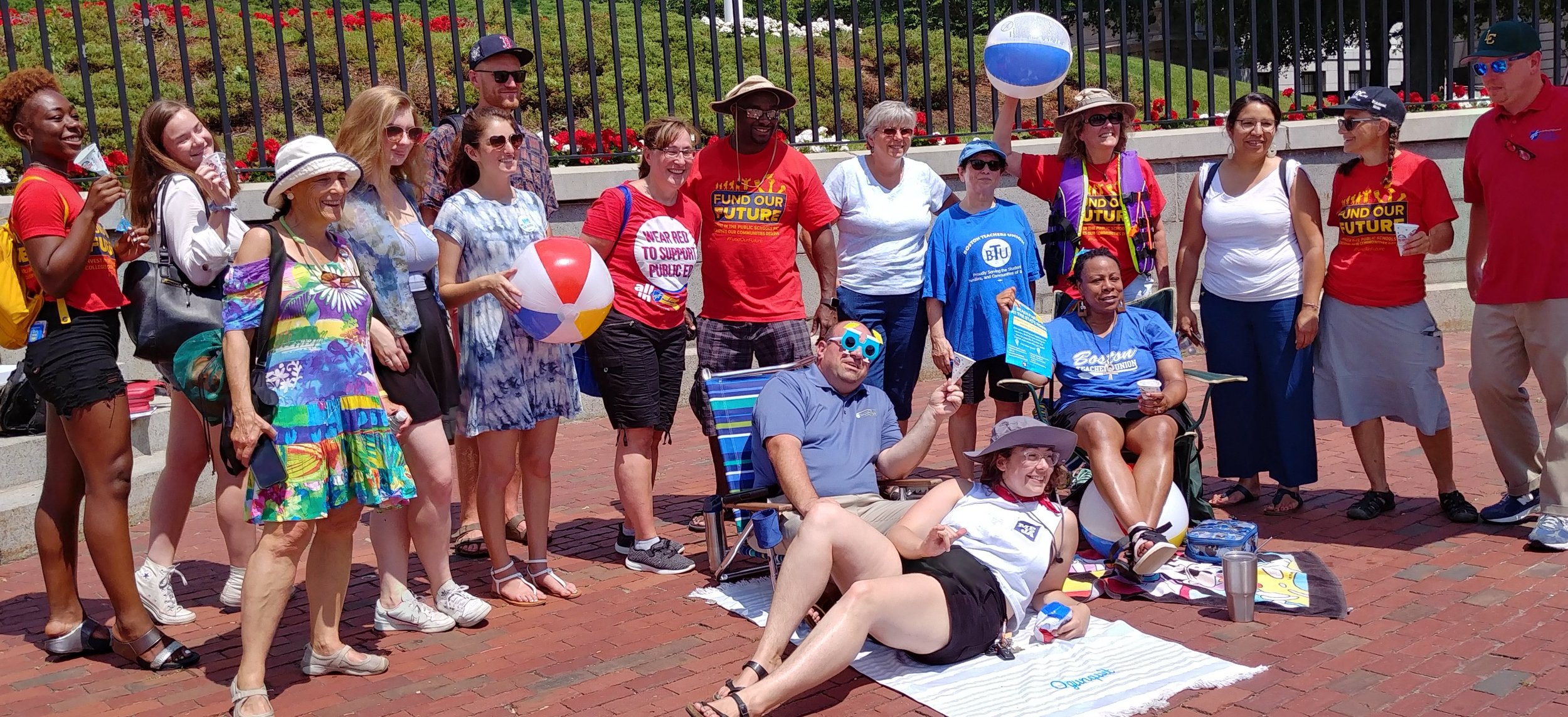 MEJA members at our State House Beach Party in July 2019.