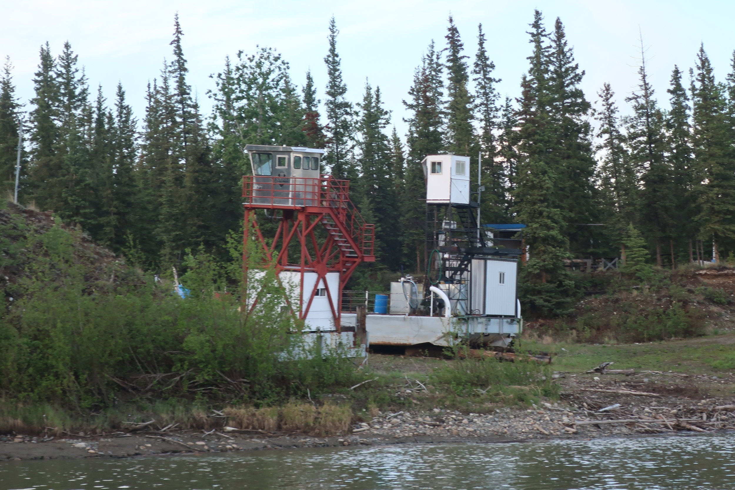 Cowboy and Tom's barge hauled up for the winter on McCabe Creek