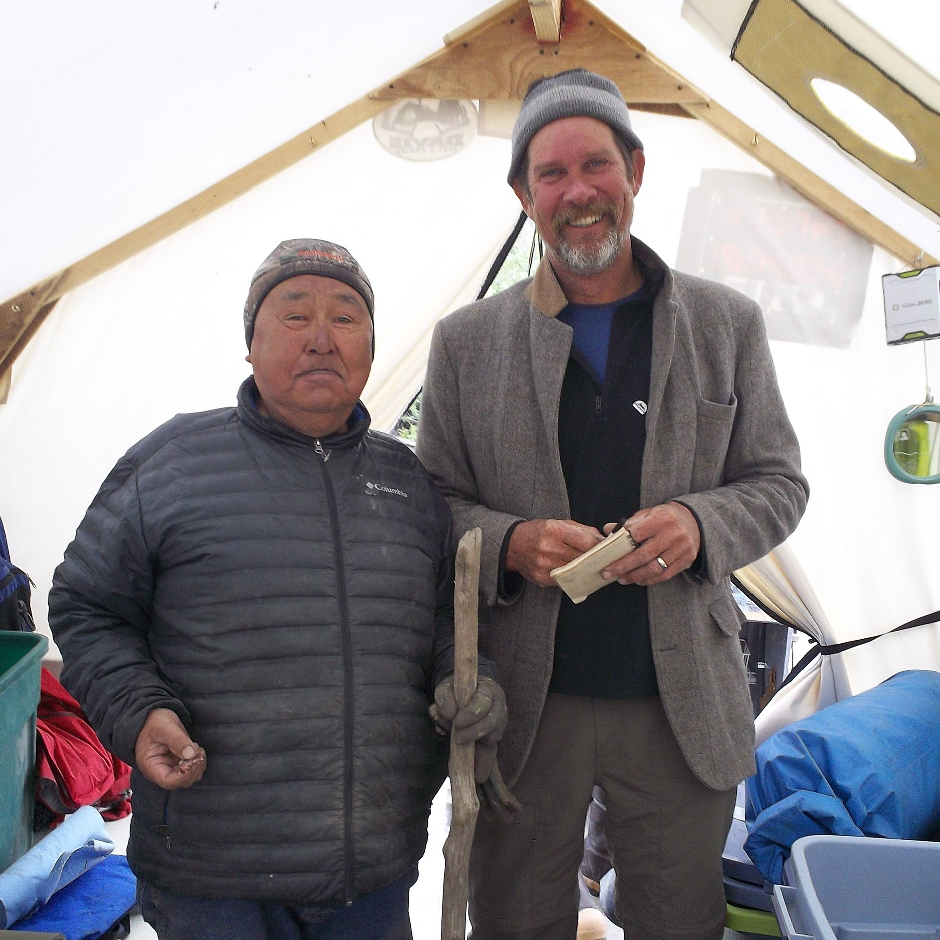 This guy, Gordon, was speaking Yupik and wanted to buy my spork but it wasn't for sale. Truhn put a sausage in his pocket on his way off the boat.