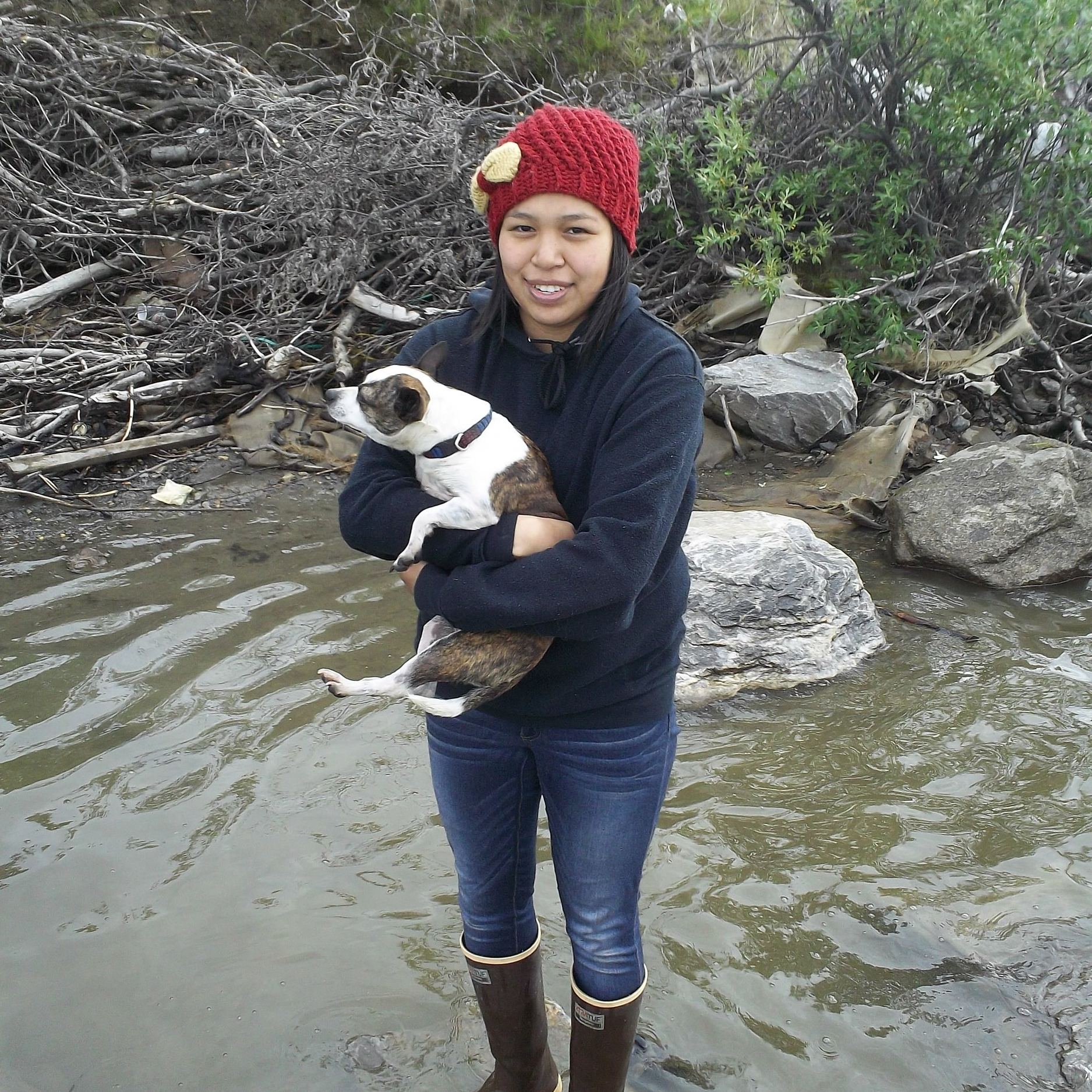 Clarissa and her new dog.