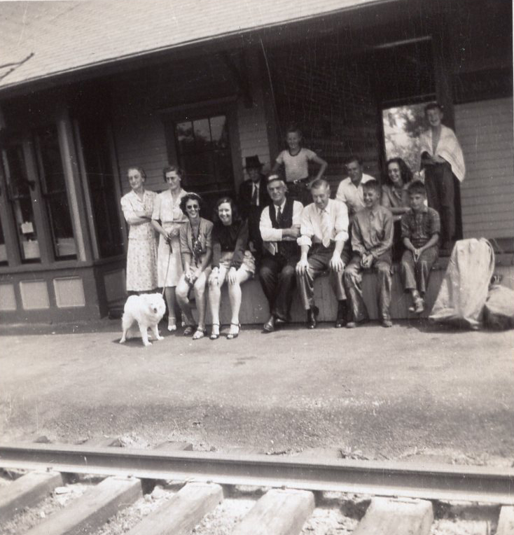 THEN: Canton train depot, circa 1937. Fourth from left, Ruth Lindley Martin, daughter of    John T Lindley, owner of Lindley's Drug Store. (Can anyone identify the others in the photo?)