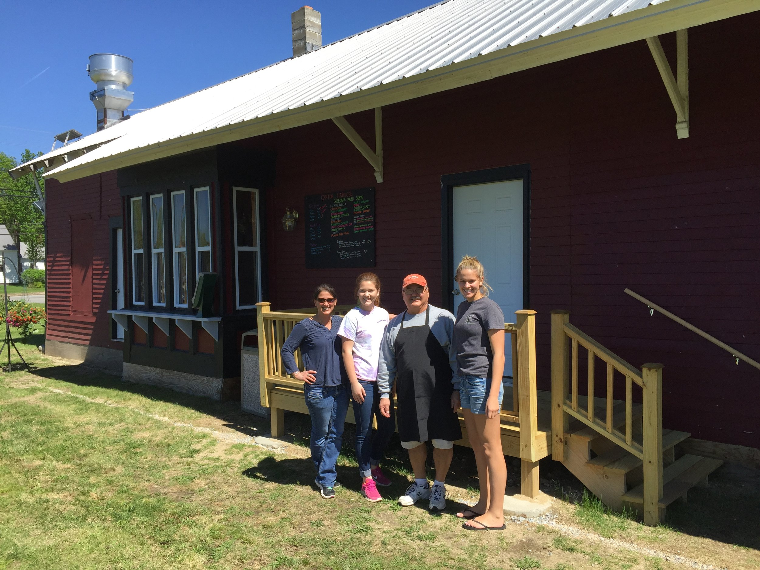 NOW: Canton depot now beautifully renovated to become  The Canton Caboose .History and ice cream! (L to R: Emily Bourassa, Owner; Lauren Ferland;John Therrien;and Kaicey Conant.) 2017