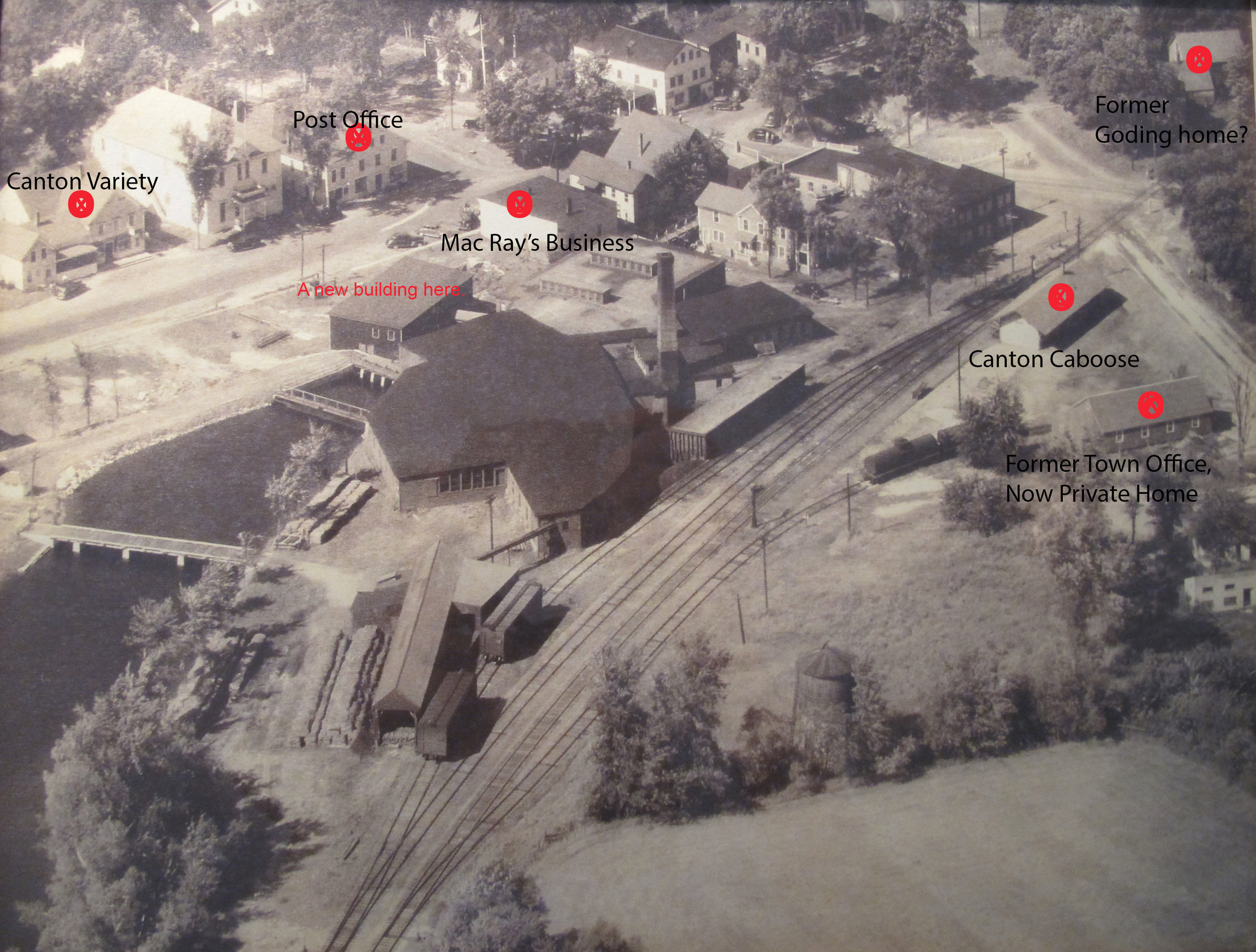 THEN: Aerial view of Canton Circa 1950's? (The Buildings marked with red are the only existing buildings in 2017.)