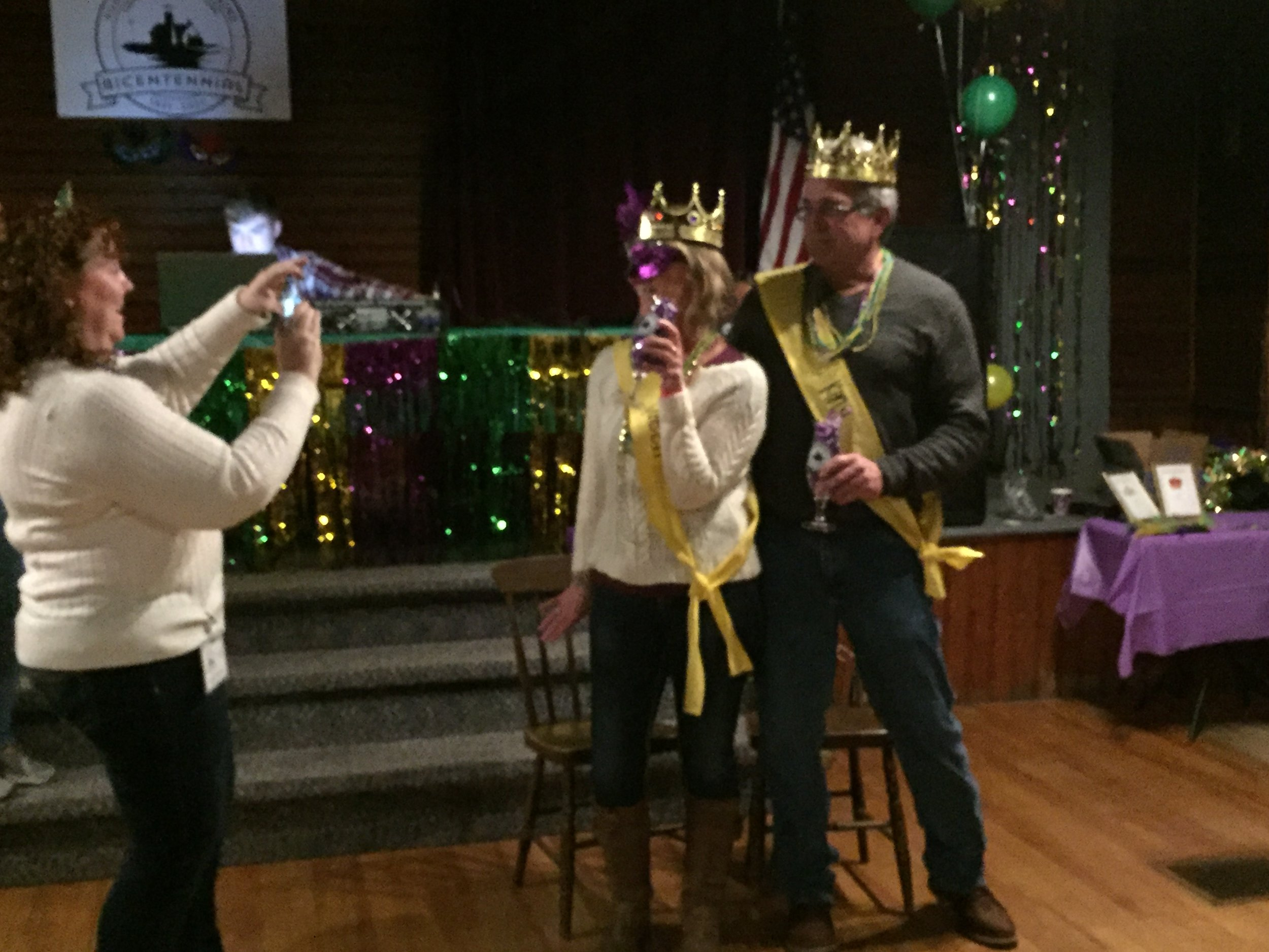 The Mardi Gras King and Queen are chosen.