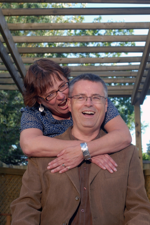 Lynda and I still goof around after 30+ years. Even if the photographer thought we should get serious!