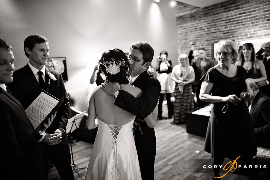 father giving bride away by seattle wedding photographer cory parris
