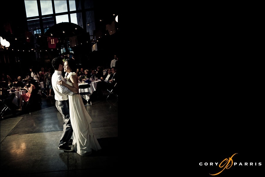 couple dancing in the Court in the Square by Seattle Wedding PHotographer cory parris