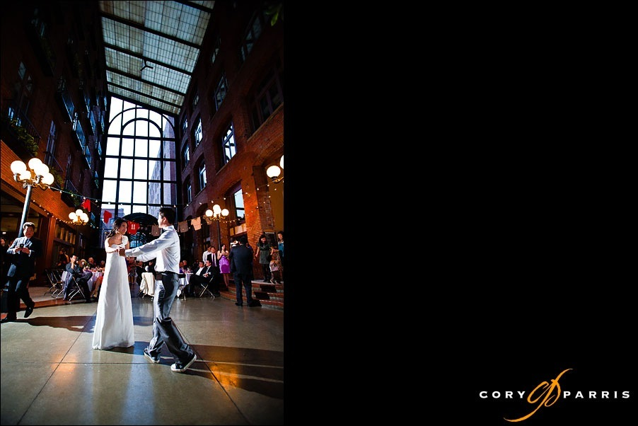 couple dancing inside the court in the square seattle wedding locations