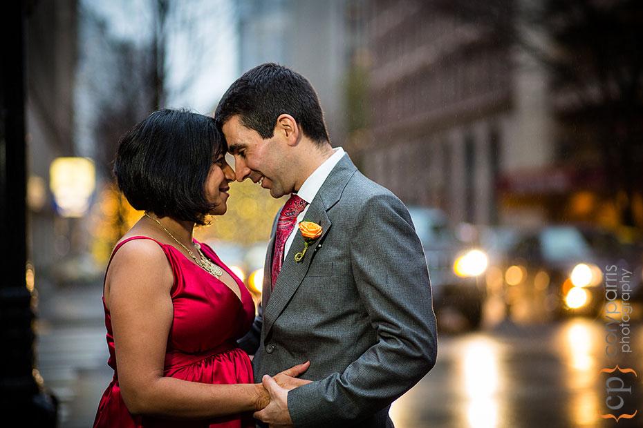 seattle wedding photographer cory parris taking photograhs in the rain