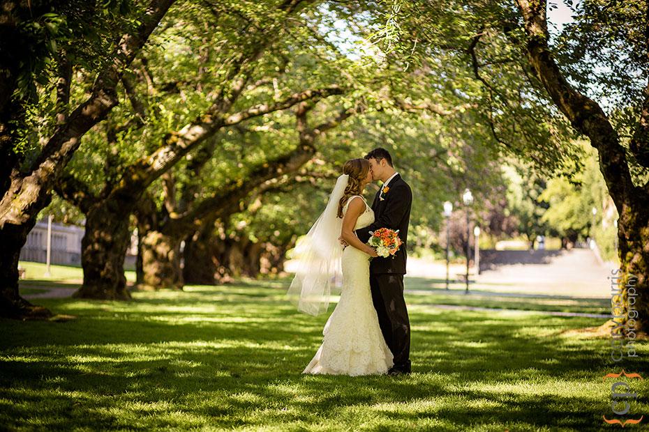 Wedding portrait on the quad at the University of Washington