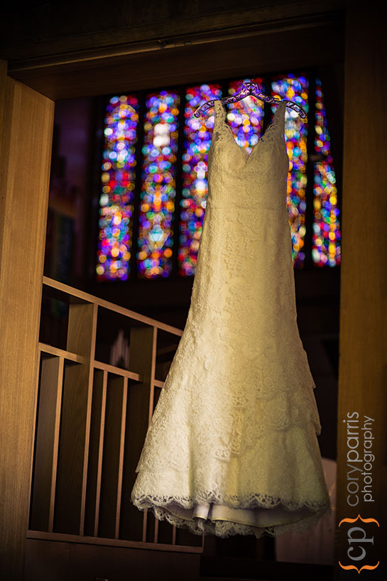 wedding dress and stained glass