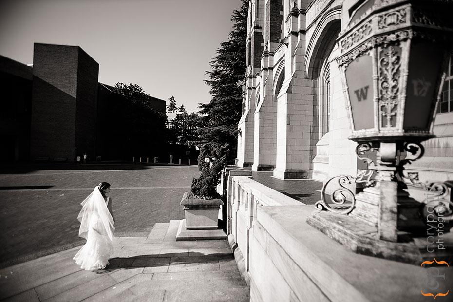 Bride walking across the University of Washington campus