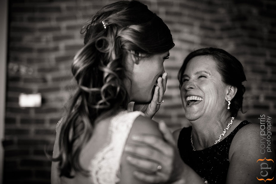 bride and mom at shilshole bay beach club