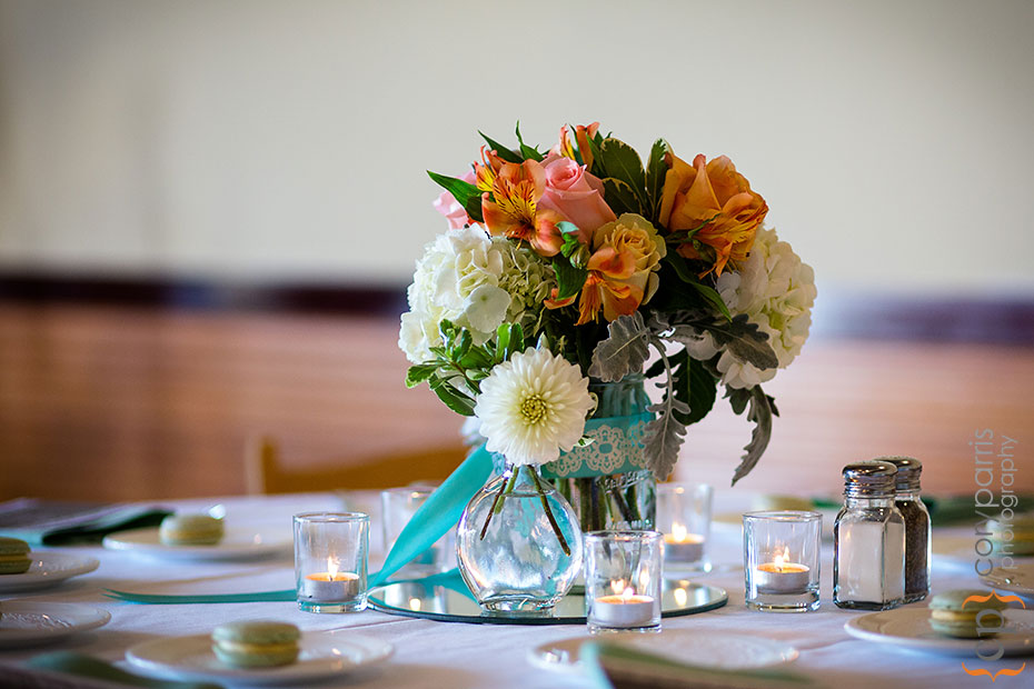 wedding centerpiece turquoise and orange