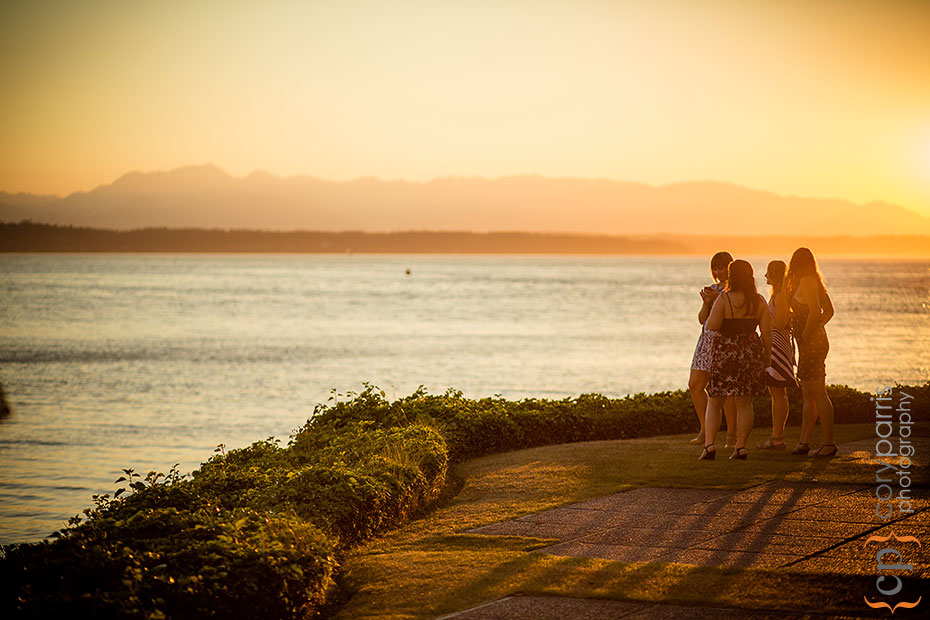 The view at sunset from the Shilshole Bay Beach Club