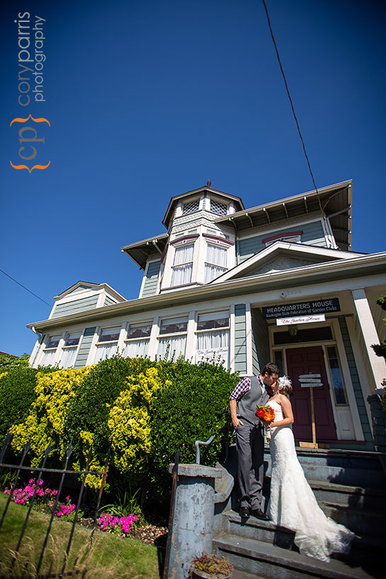 wedding couple in front of Beacon Hill wedding venue in Seattle