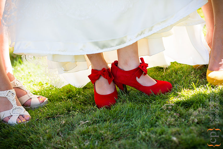 bright red wedding shoes
