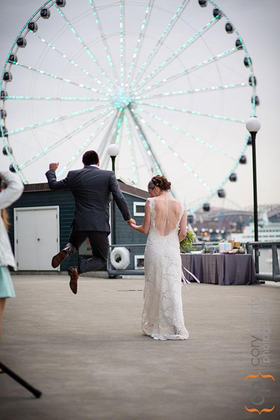 groom celebrating their wedding
