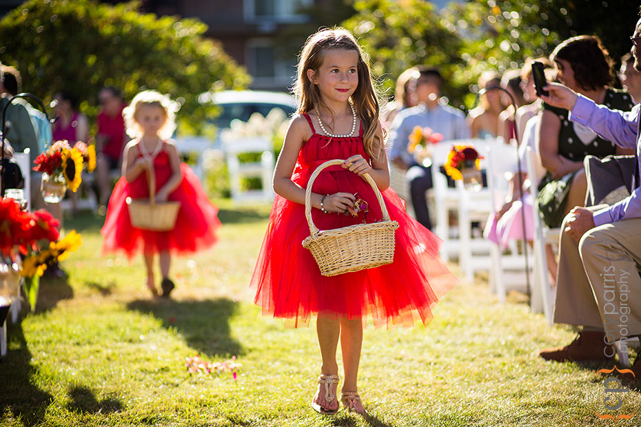 Flower girl in red tutu at the Beacon Hill Garden House