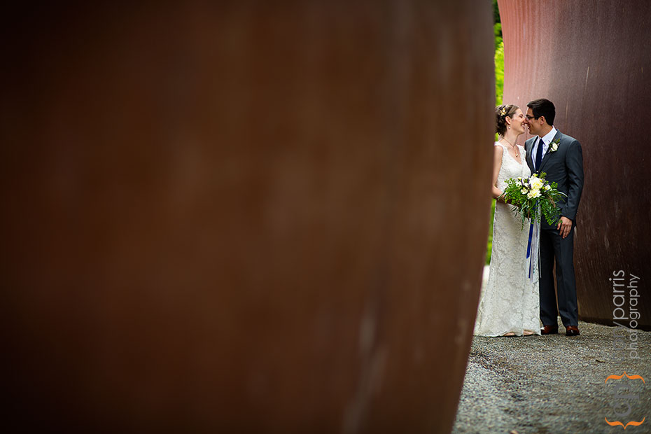 Wedding portrait at the olympic sculpture park in seattle