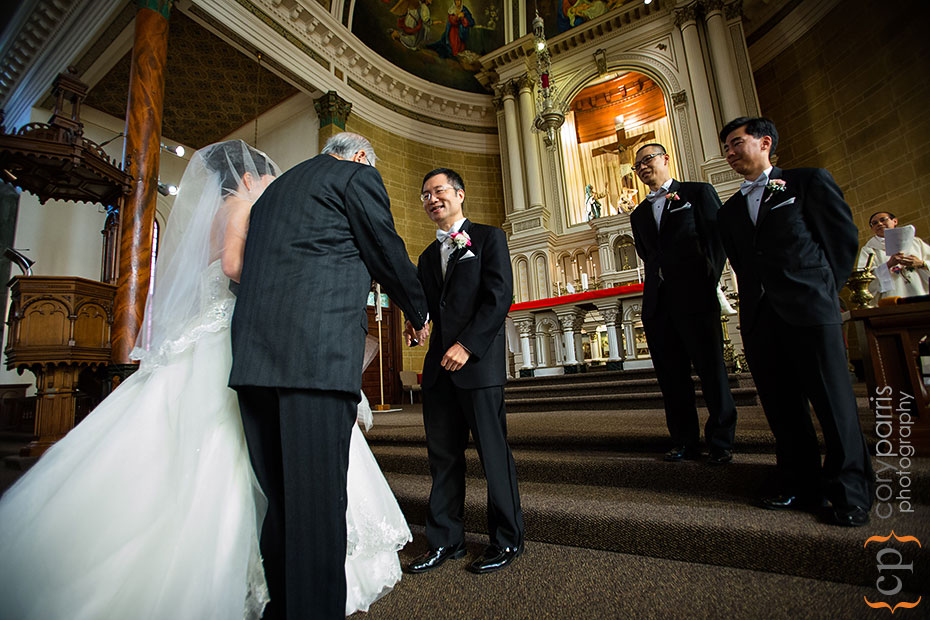 beautiful immaculate conception church in seattle wedding