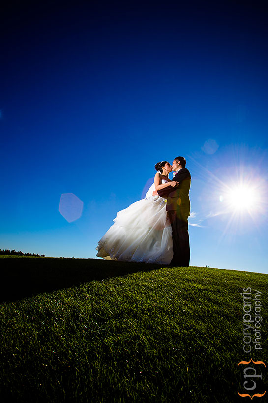 bride and groom portrait at the golf club at newcastle