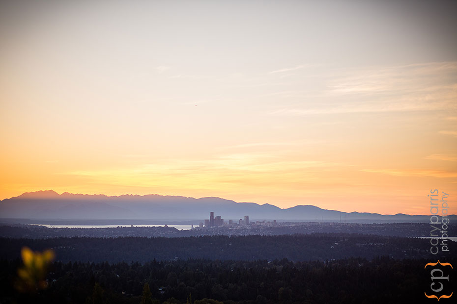 Sunset view of Seattle from the Golf Club at Newcastle