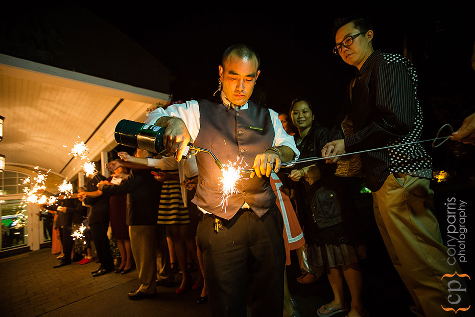lighting sparklers with a blow torch at a wedding