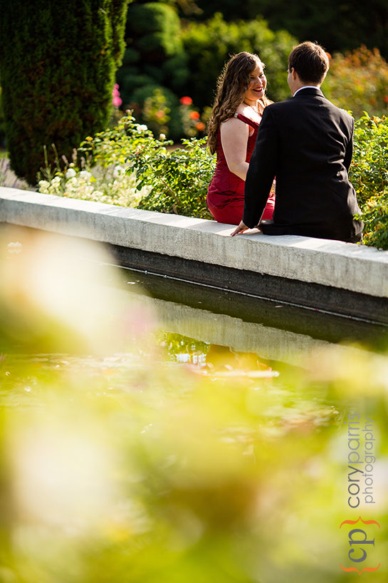 bride and groom portrait in the woodland park rose garden