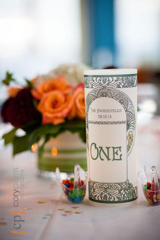wedding centerpiece at Aqua restaurant in Seattle