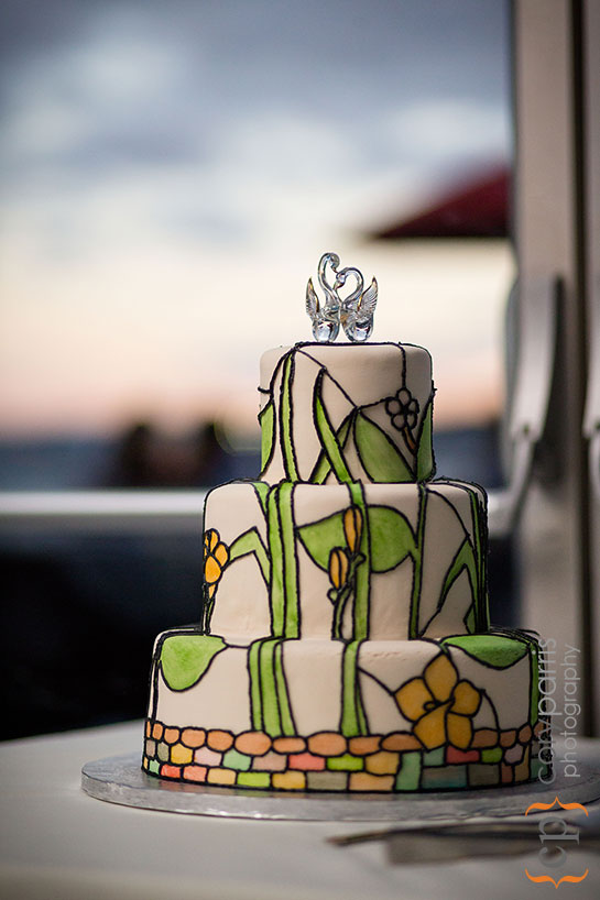 stained glass style wedding cake