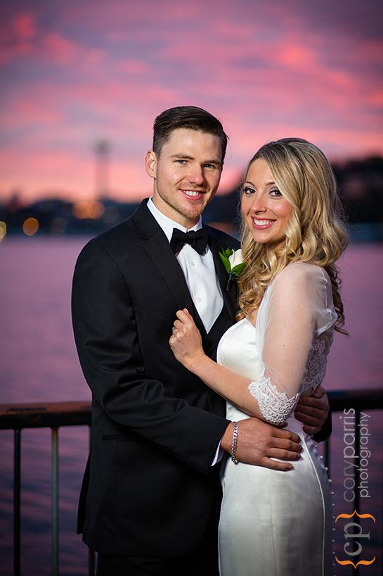 sunset strobist wedding portrait at Gas Works Park