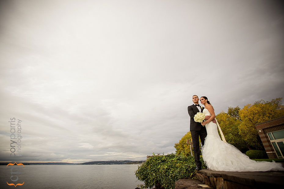 bride and groom portrait on Lake Washington