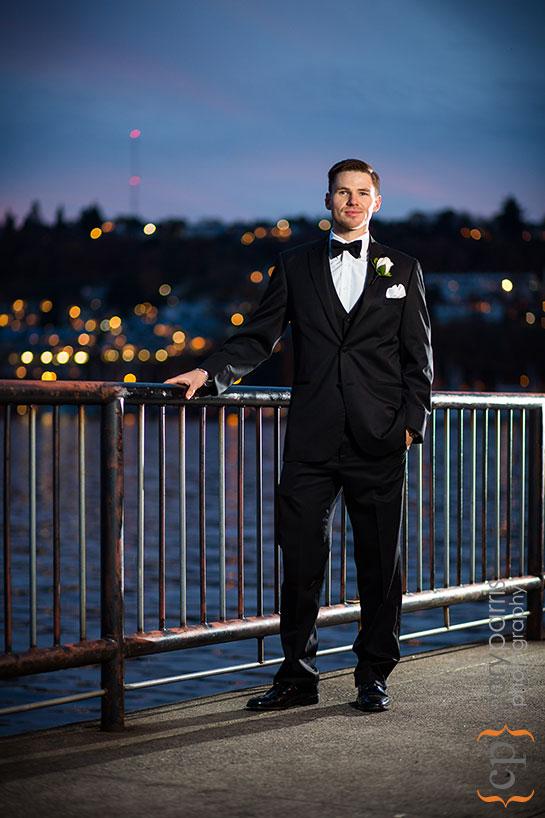 portrait of groom at Gas Works Park