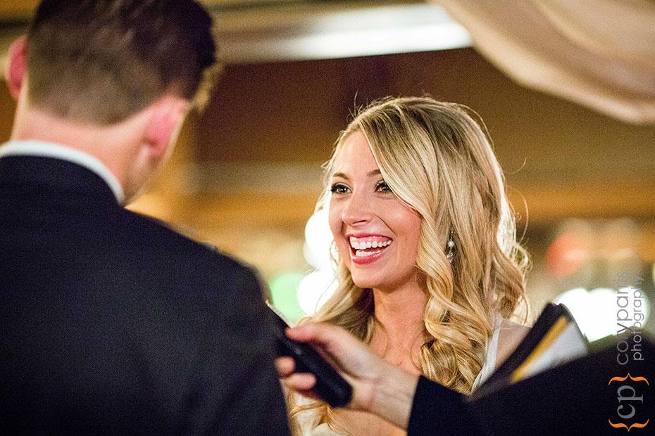 bride laughing during wedding