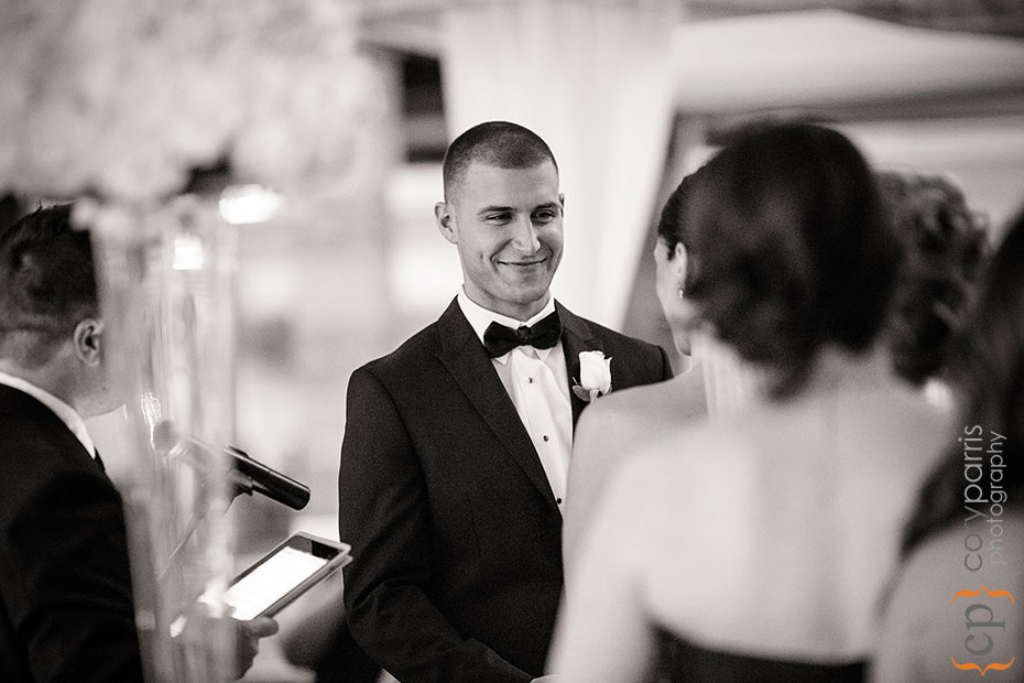 groom looking at bride during wedding cermony