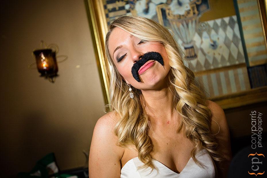 bride and mustache