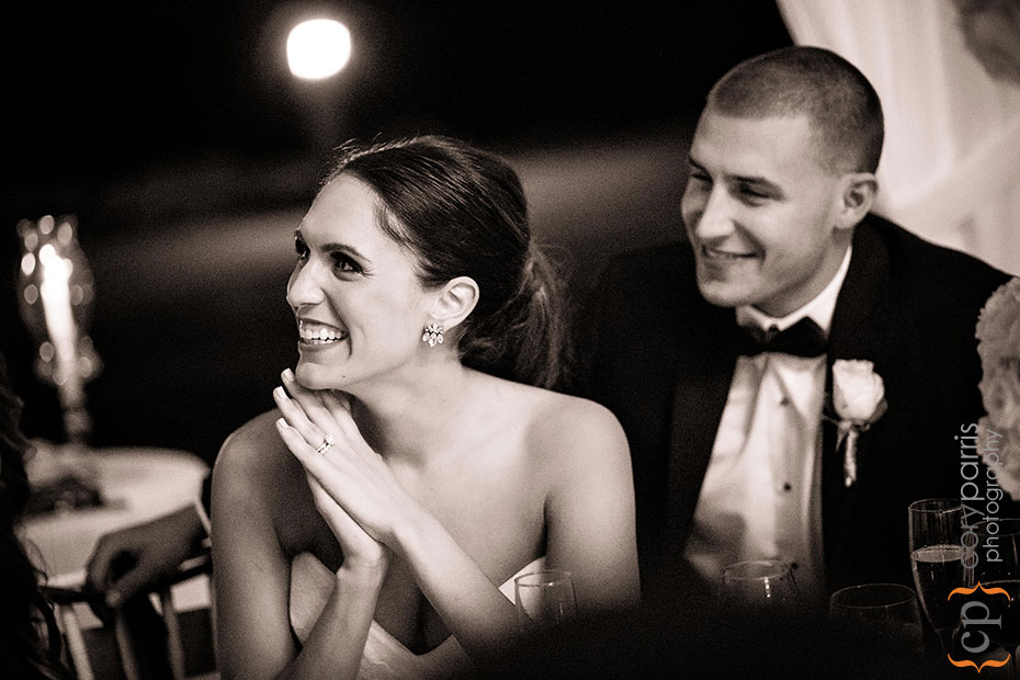 bride laughin during toasts