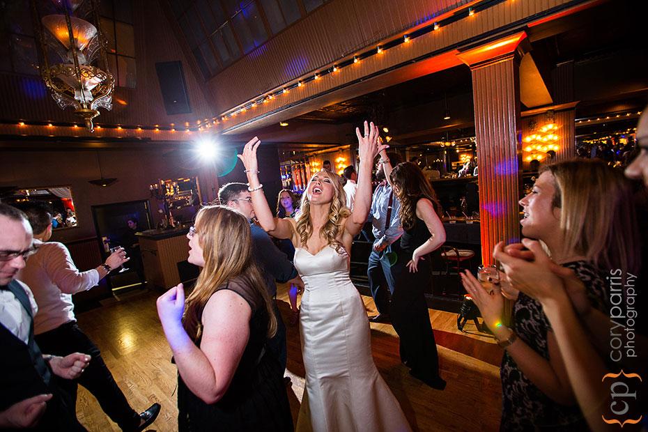 bride dancing at lake union cafe