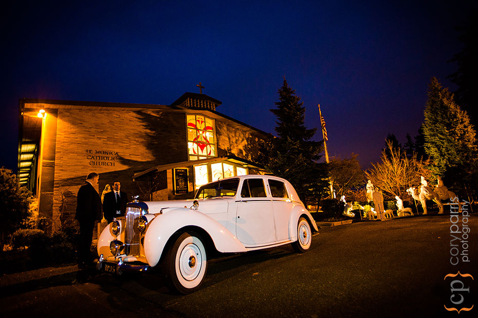 old rolls royce outside a church wedding