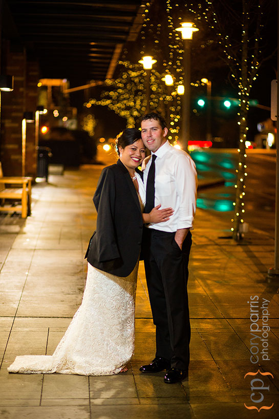 wedding couple on the streets of Bellevue