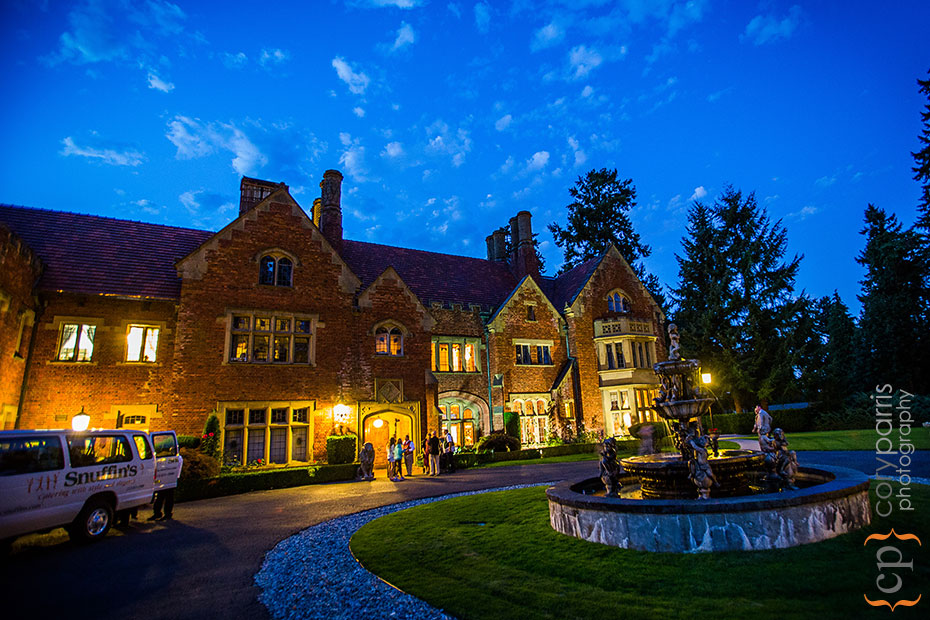 Night image of the beautiful Thornewood Castle