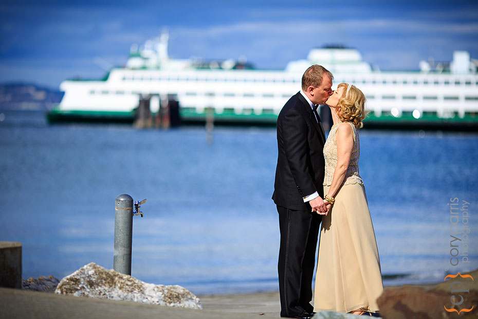 Wedding portrait with a ferry