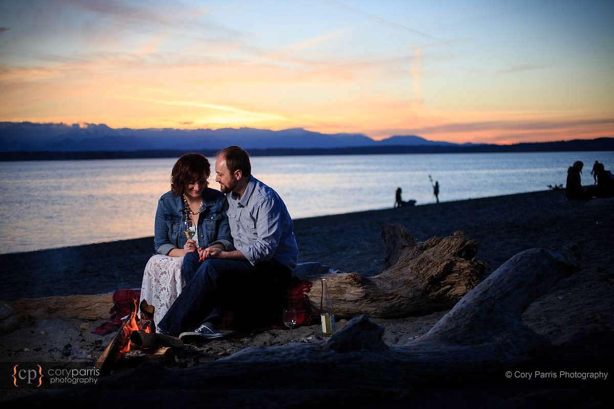 campfire engagement portraits