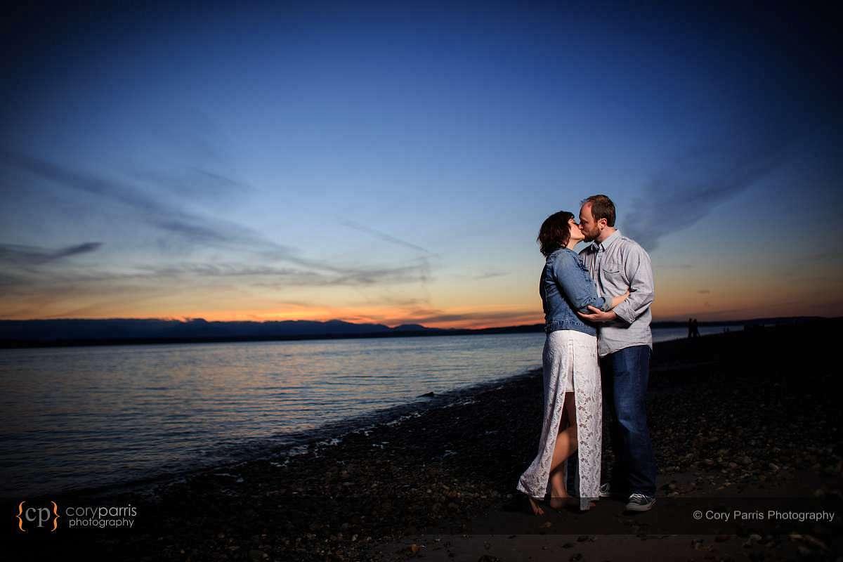 Sunset engagement portrait at Golden Gardens in Seattle