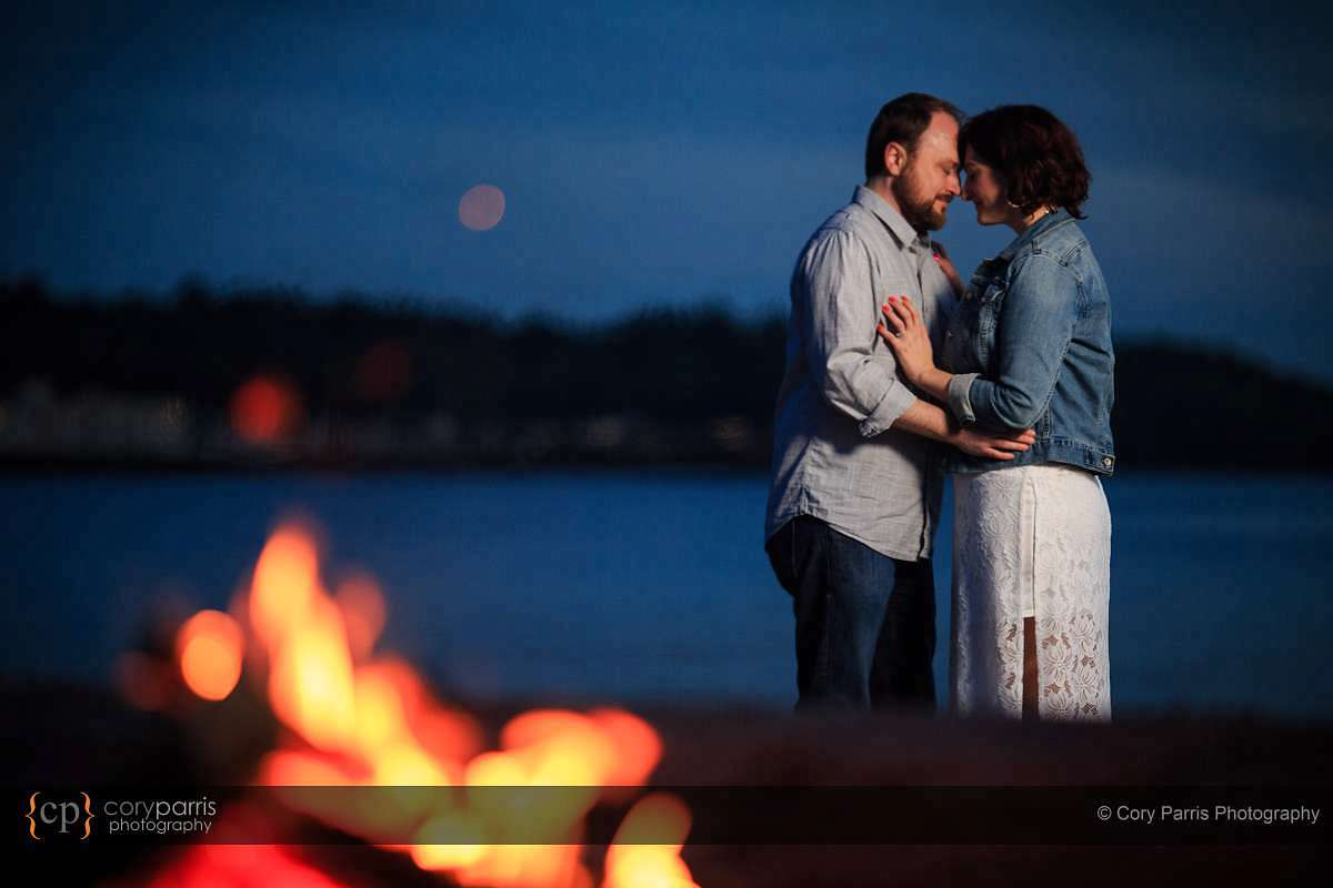 Playing with fire engagement portrait