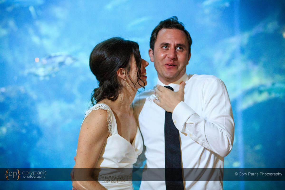 Jesse hamming it up for the crowd after a kiss from his new wife.