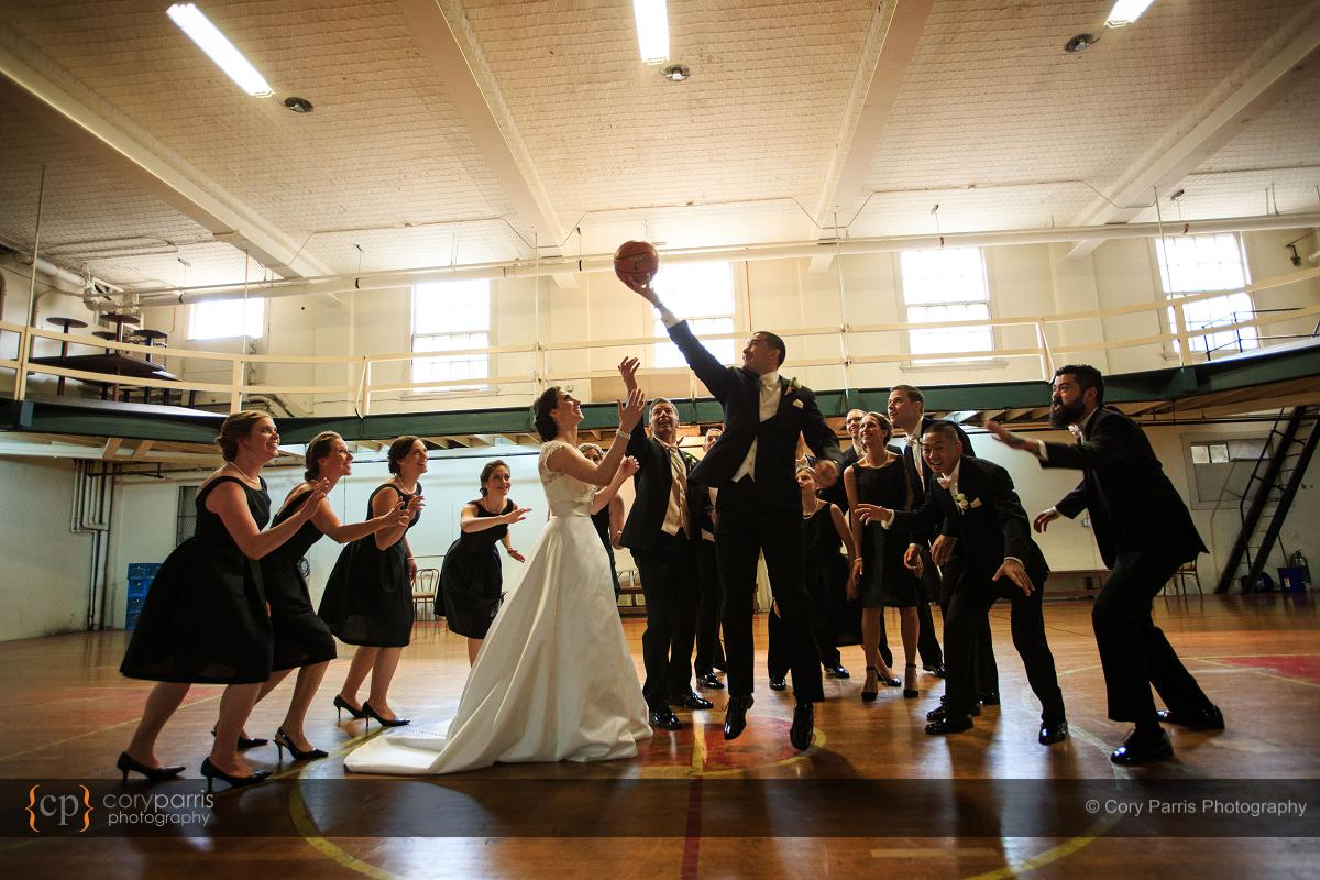 Wes taking advantage of Kristen's inability to jump in her wedding dress!